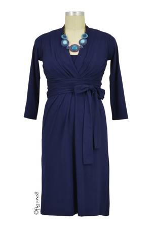 Theory Twist-Front Nursing Dress (Navy) by Milky Way