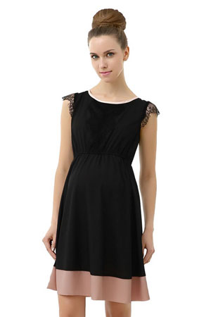 Zoey Lace Trimmed Colorblock Maternity Dress by Kimi & Kai Maternity