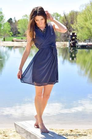 Sasha Chiffon Dotted Nursing Dress (Navy and Cream Dot) by Sophie & Eve
