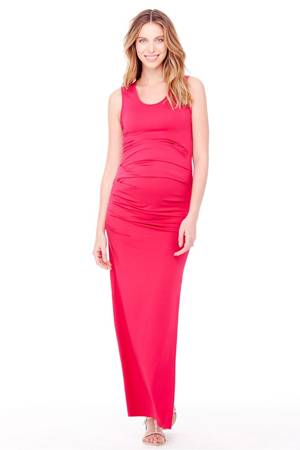 Ingrid & Isabel Pleated Tank Maxi Maternity Dress (Berry) by Ingrid & Isabel