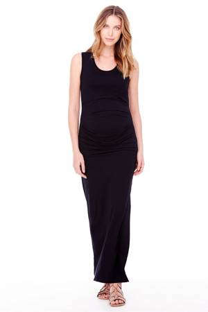 Ingrid & Isabel Pleated Tank Maxi Maternity Dress (Black) by Ingrid & Isabel