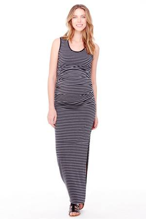 Ingrid & Isabel Pleated Tank Maxi Maternity Dress (Black & Heather Grey Stripes) by Ingrid & Isabel