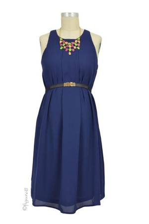 Carmene Sleeveless Nursing Dress with Belt (Navy) by Spring Maternity