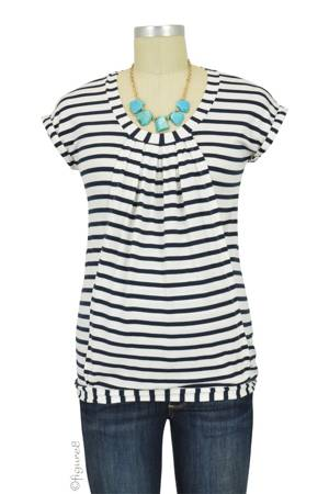 Manon Nursing Top (Blue & White Stripes) by Pomkin