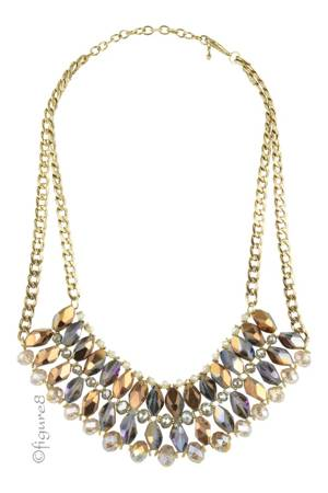 Sparkle Necklace w/Double Chain (Gold) by Jewelry Accessories