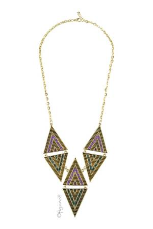Purple & Green Triangle Necklace (Purple & Green) by Jewelry Accessories