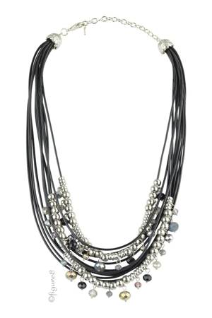 Silver Bead & Black Rope Necklace (Silver & Black) by Jewelry Accessories