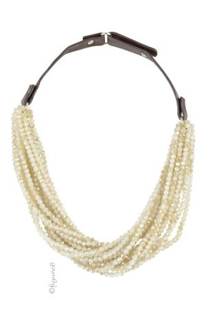 Cora Crystal Pearl Twisted Necklace (Tan & Gold) by Jewelry Accessories
