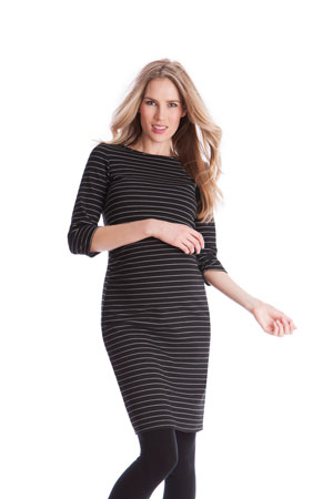 Seraphine Aviana Ponte Stripe Nursing Dress (Black/White) by Seraphine