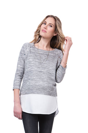 Seraphine Gloria Layered Look Nursing Sweater (Grey/White) by Seraphine