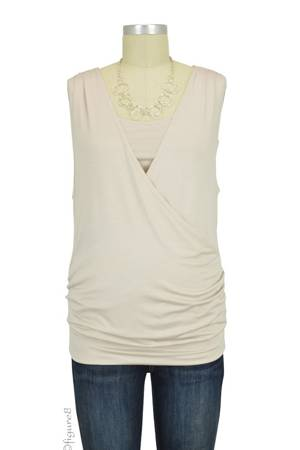 Baju Mama Cloe Banded Cross Over Nursing Top (Oyster) by Baju Mama