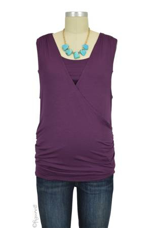 Baju Mama Cloe Banded Cross Over Nursing Top (Eggplant) by Baju Mama