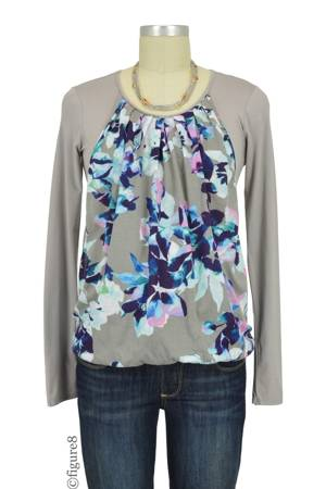 Sabina Long Sleeve Pleated Nursing Top (Wisteria Print) by MEV