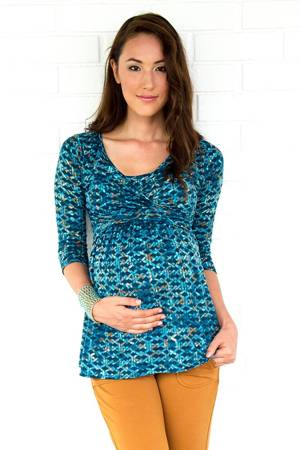 Tami 3/4 Sleeve Wrap Nursing Top (Link Print) by MEV
