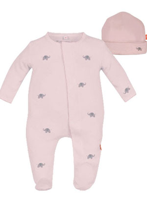 Magnificent Baby Darjeeling Elephant Baby Girl Footie & Hat Set (Pink) by Magnificent Baby