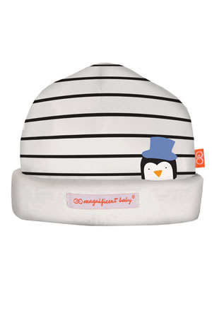 Magnificent Baby Party Penguins Reversible Baby Boy Hat (Penguin Blue) by Magnificent Baby