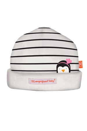 Magnificent Baby Party Penguins Reversible Baby Girl Hat (Penguin Pink) by Magnificent Baby