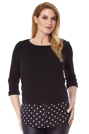 Carla Maternity Sweater Overshirt (Black Dots) by Jules & Jim