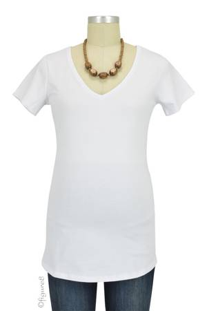 Must- Have Short Sleeve V-Neck Maternity Tee (White) by Noppies
