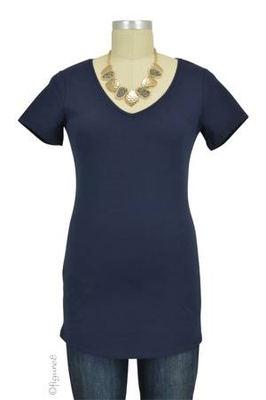 Must- Have Short Sleeve V-Neck Maternity Tee (Navy) by Noppies