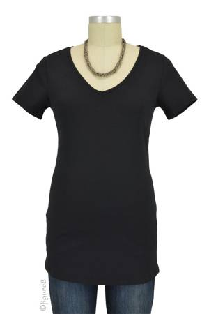 Must- Have Short Sleeve V-Neck Maternity Tee (Black) by Noppies