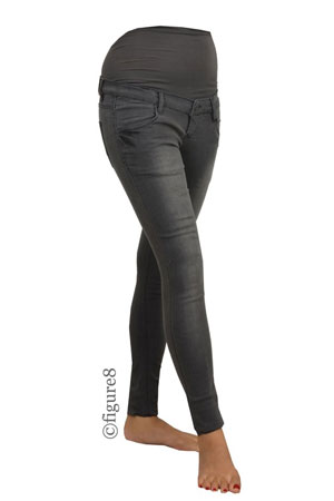 Mia Skinny Over/Under Maternity Jeans (Grey Denim) by Noppies