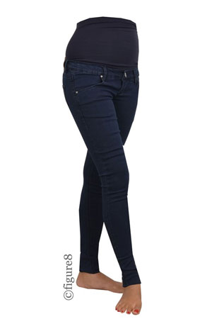 Mia Skinny Over/Under Maternity Jeans (Blue Denim) by Noppies