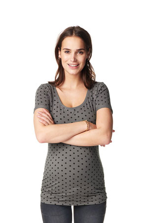 Dottie Short Sleeve Maternity Tee (Grey) by Noppies