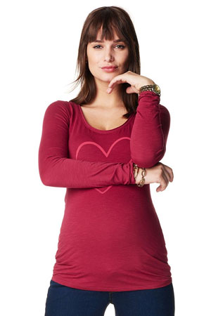 Lovey Long Sleeve Maternity Tee (Warm Red) by Noppies