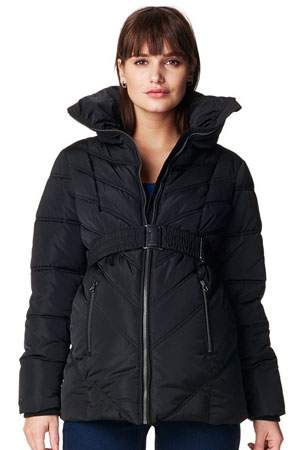 Leslie Quilted Maternity Coat (Black) by Noppies