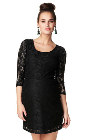 Kourtney 3/4 Sleeve Lace Maternity Dress (Black) by Noppies
