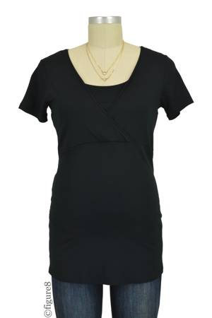Lily Short Sleeve Nursing Top (Black) by Noppies