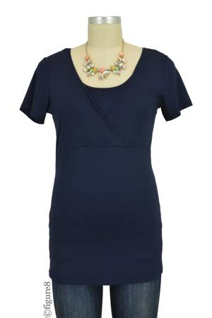 Lily Short Sleeve Nursing Top (Navy) by Noppies