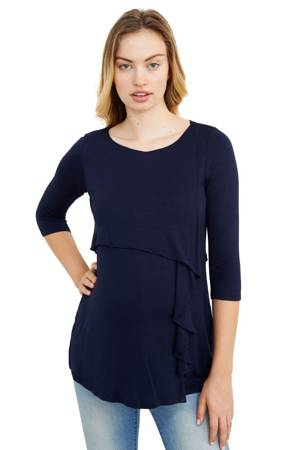 Francine Ruffle Cascade Maternity & Nursing Top (Navy) by Maternal America