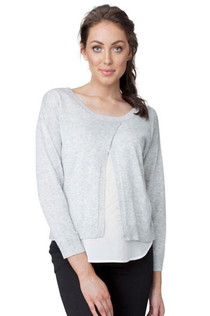 Erin Cross Front Nursing Sweater (Ash/Milk) by Ripe Maternity