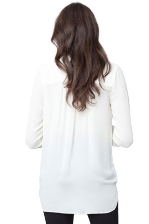 Julia Chiffon Drape Nursing Blouse (Winter White) by Ripe Maternity