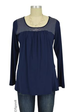 Ema Sequin Nursing Top (Navy) by Annee Matthew