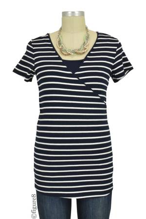 Layla Short Sleeve Striped Nursing Top (Navy Stripes) by Noppies