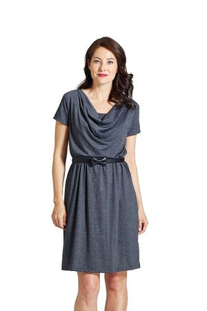 Milky Way Avery Cowl-Neck Maternity and Nursing Dress (Charcoal) by Milky Way
