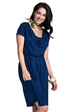 Milky Way Avery Cowl-Neck Maternity and Nursing Dress (Navy) by Milky Way