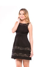 Liza Ponte Maternity Dress (Black with Lace) by Olian