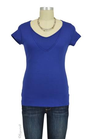 Lise V-Neck Nursing Top (Blue) by Pomkin