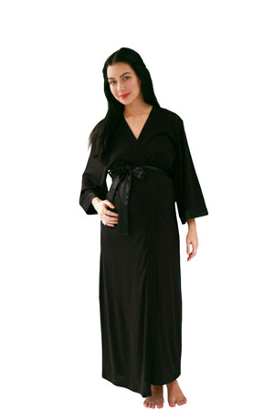 Belabumbum Moon Goddess Long Kimono Robe (Black) by Belabumbum
