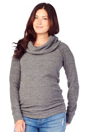 Ingrid & Isabel Cowl Neck Maternity Sweatshirt (Grey Heather Triblend) by Ingrid & Isabel