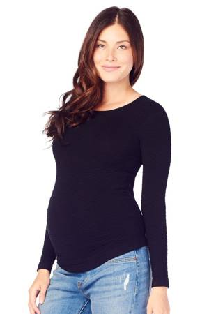 Ingrid & Isabel Textured Fitted Maternity Sweater (Black) by Ingrid & Isabel