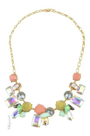 Jeweled Statement Necklace (Pink, Yellow & Mint) by Jewelry Accessories