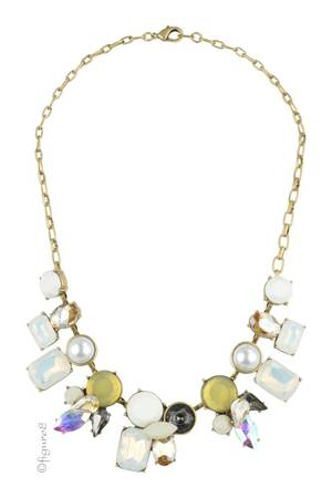 Jeweled Statement Necklace (White & Black) by Jewelry Accessories