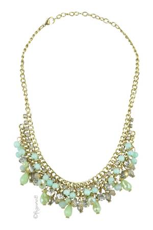 Mint Beaded Necklace with Gold Plated Chain (Mint) by Jewelry Accessories