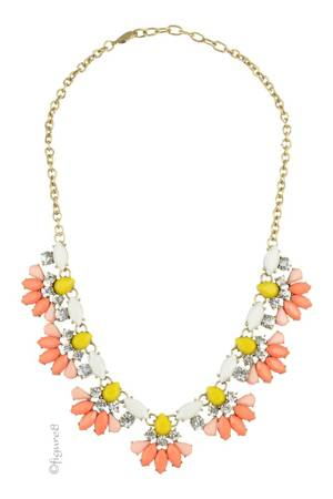 Flower Statement Necklace (Orange & Yellow) by Jewelry Accessories