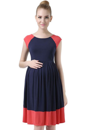 Andrea Colorblock Skater Maternity Dress by Kimi & Kai Maternity